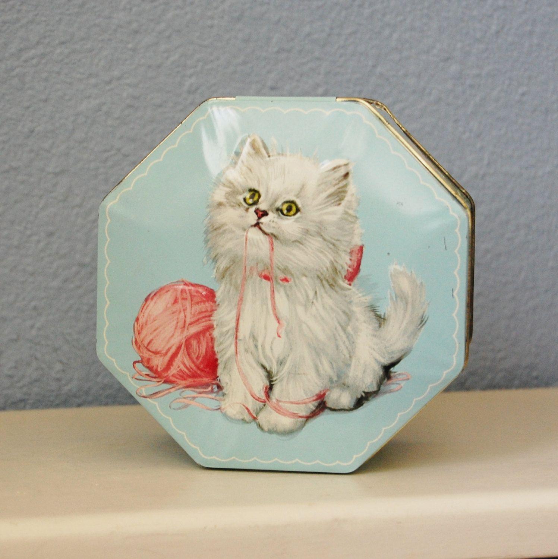 Vintage Kitten Tin Litho Octagonal Box England Ot Feraliavintage
