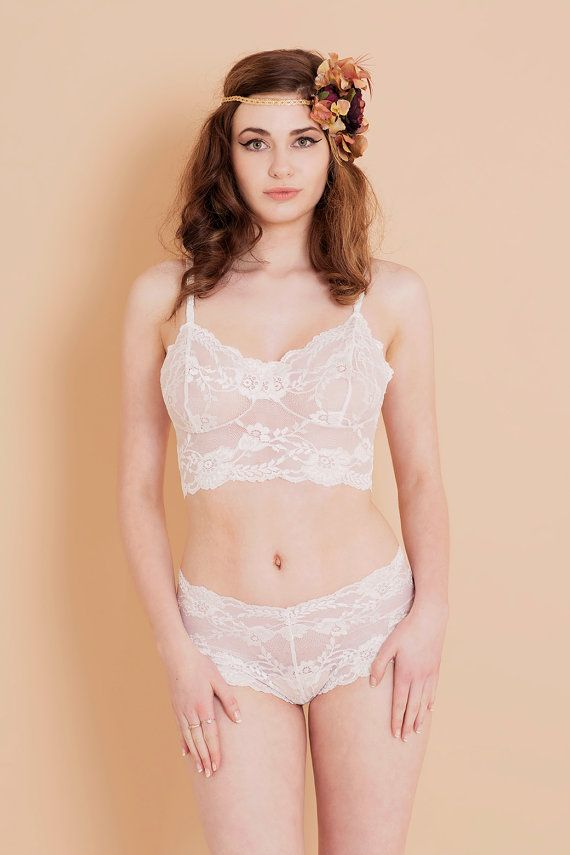 1723a4c847 Ivory White Floral Lace Bralette  Bra with matching French Knicker Lingerie  Set. Handmade from Brighton Lace. Wedding Bridal Lingerie.