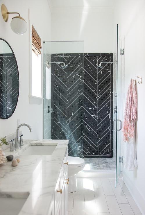 Black marble herringbone tiles   Tile  Bathr