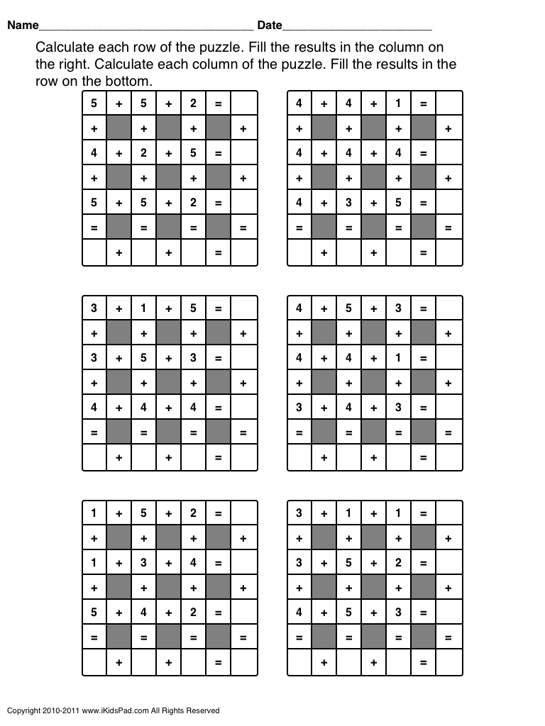 Free Printable Math Operations Puzzle For Kids