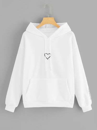 Heart Embroidery Drawstring Kangaroo Pocket Hoodie