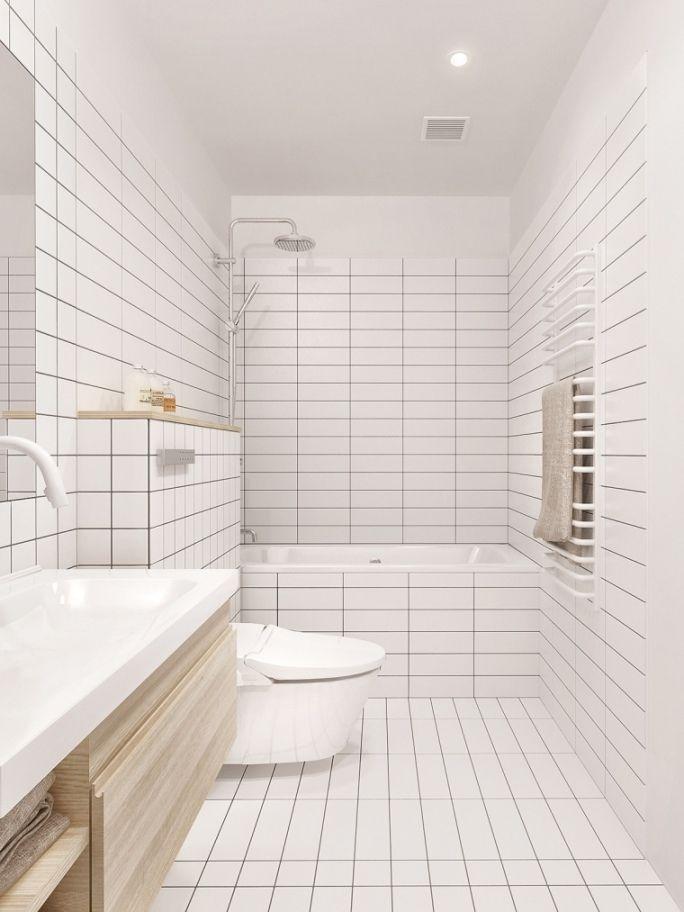 witte of grijze voegen badkamer met badkamertegels design, Badkamer ...
