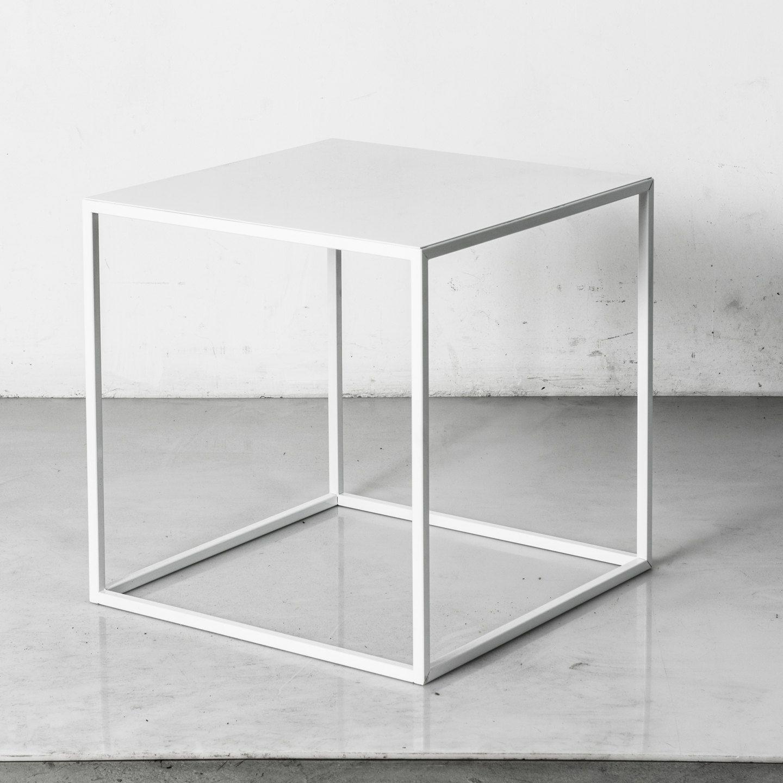 Mid Century Modern Minimalist Side Table   Powder Coated Steel Tube [PCD112]
