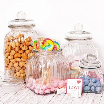 Set de 4 tarros vintage de cristal para candy bar for Tarros de cristal vintage