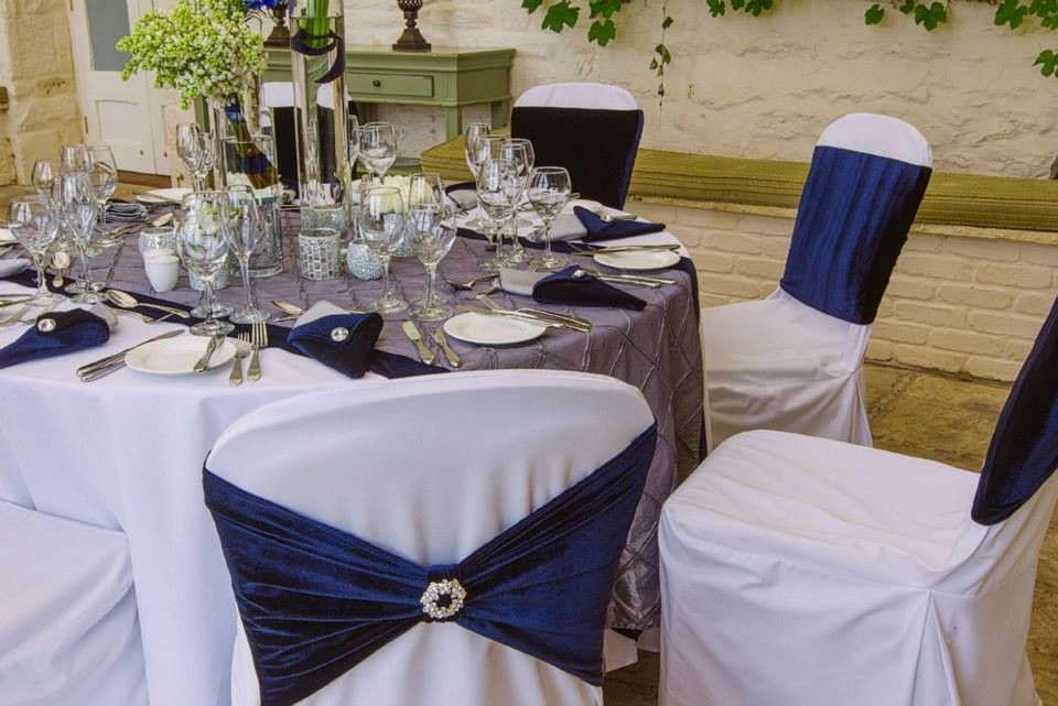 Navy Chair Bands With Grey And Navy Table Runners By Simply Bows And Chair  Covers