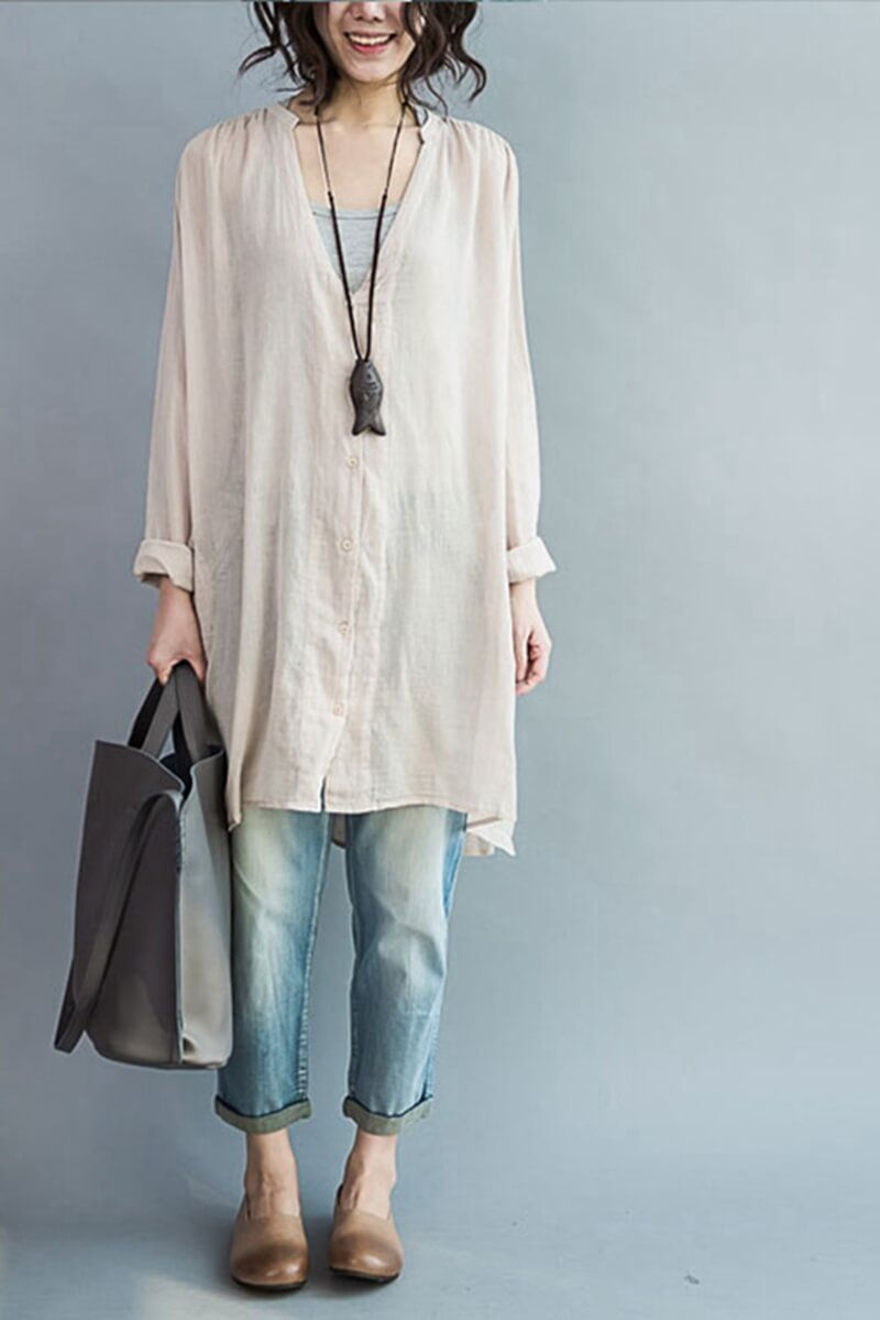 aeab7b895318d Art Casual Loose Long V-neck Cotton Shirt Women Clothes | my style ...