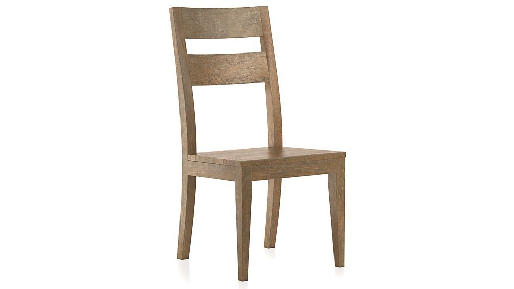 Basque grey wash side chair and cushion crate and barrel