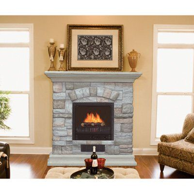 electric fireplace with mantel and multicolor stone facade living rh pinterest ca