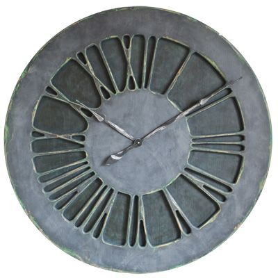 """The """"Classic Denim"""" is a large hand painted statement wall clock that is designed for a masculine """"Denim"""" environment. It displays carefully crafted Roman Numerals on the hand painted """"denim"""" background. Are you looking for something different? Perhaps you would like to replace the mirror or large painting with something truly unique? If you want a centrepiece that will differentiate your place from the rest of the world look no further"""