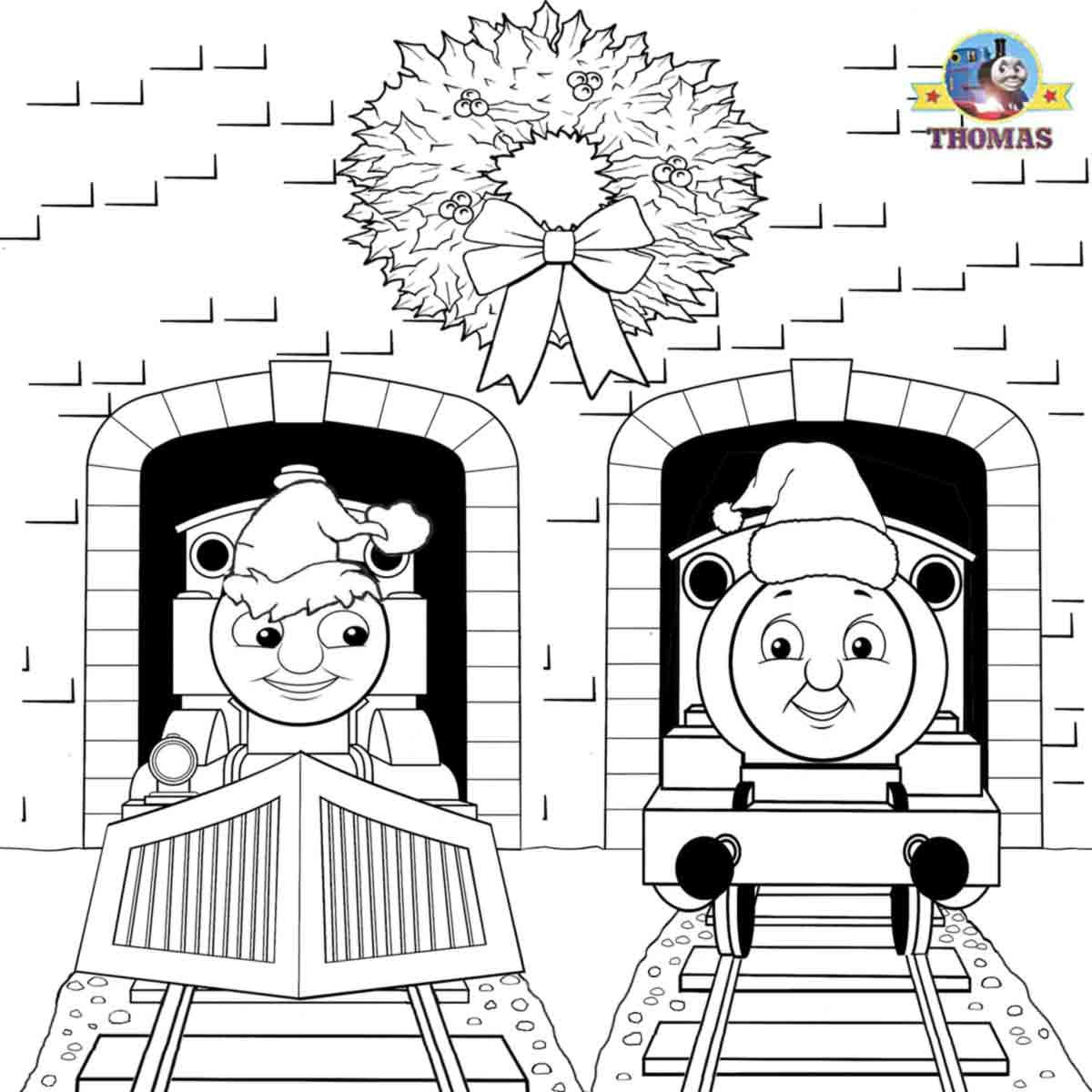 Santa Hat Coloring Page Train Thomas the tank engine Friends free