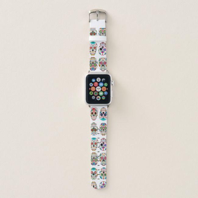Colorful Sugar Skulls Pattern Apple Watch Band Zazzle