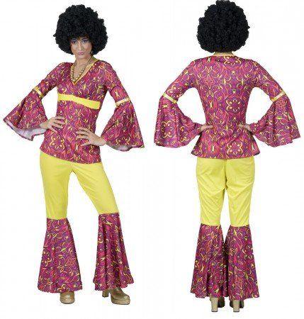 Bunt, schrill und ausgefallen ist dieses Hippie Kostüm für Damen, das den Charme vergangener Jahre einfängt!