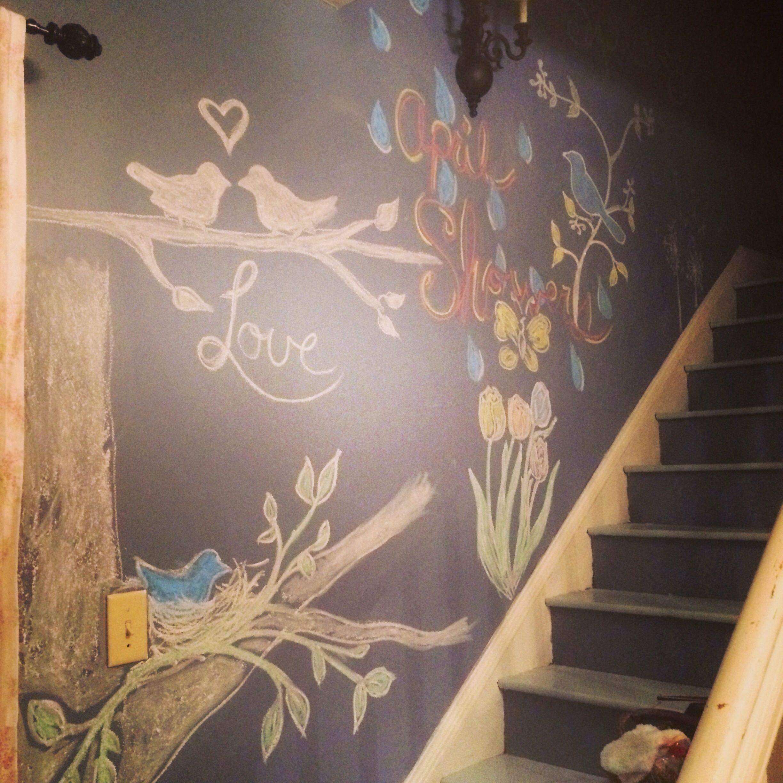 Chalkboard, spring chalkboard, chalkboard stairwell, flowers, birds, spring
