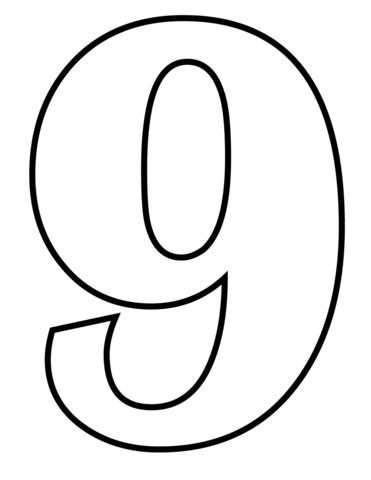 Número 9 Dibujo Para Colorear Numeros Moldes De Numeros
