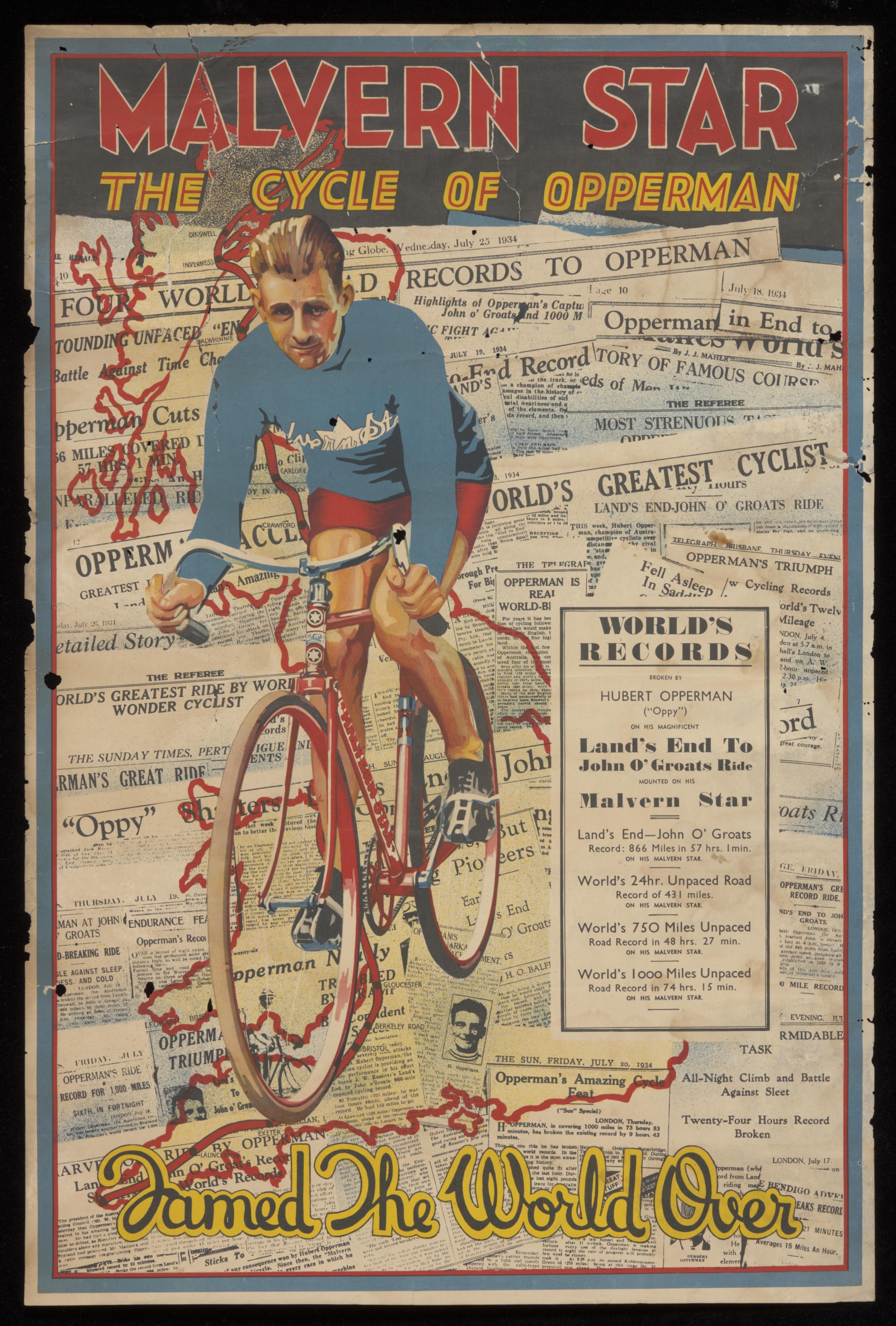 Malvern Star poster featuring Hubert Opperman, 1935 National Museum ...
