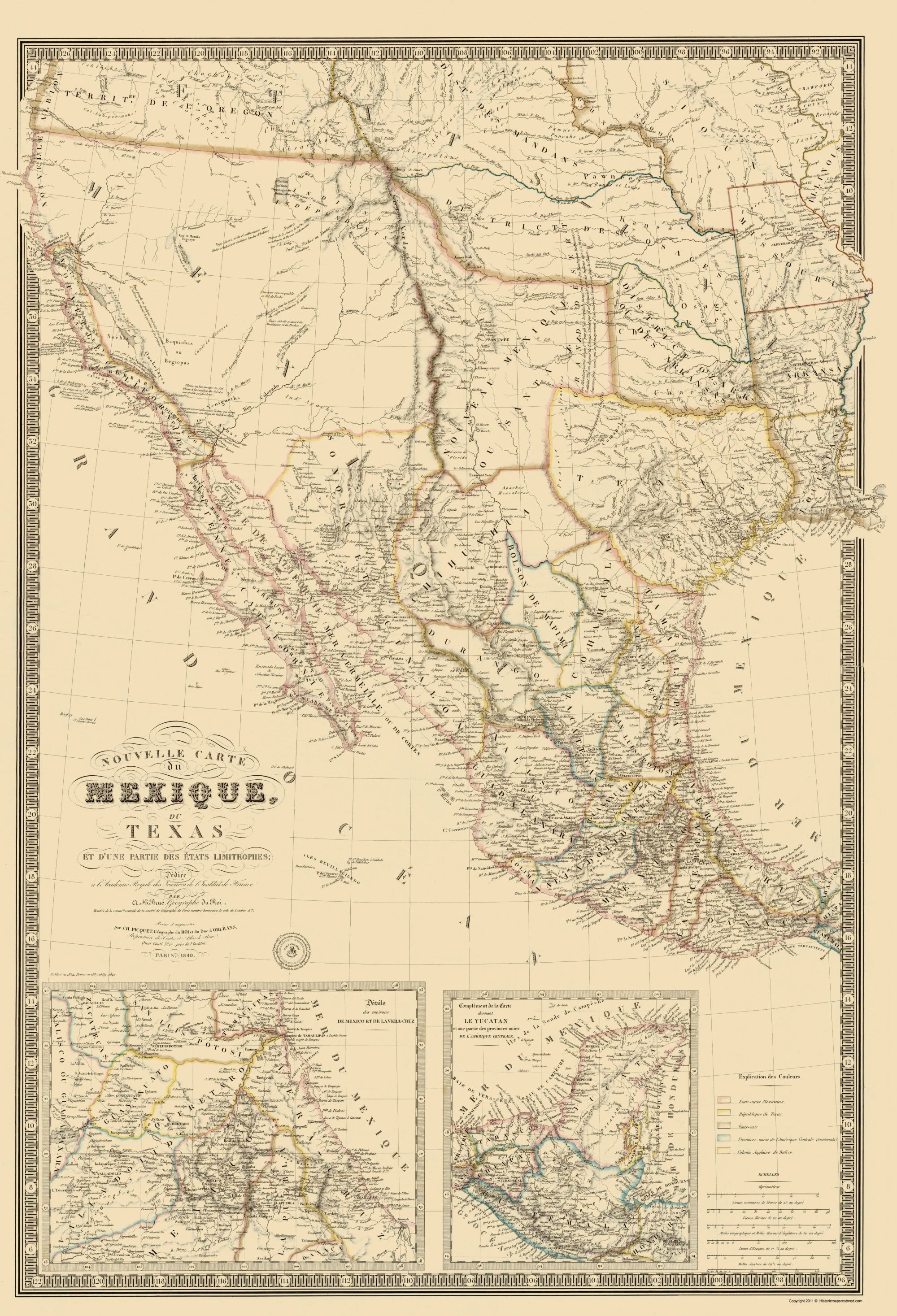 Old North America Map Mexico Southwest United States Brue 1840 - Southwest-map-us