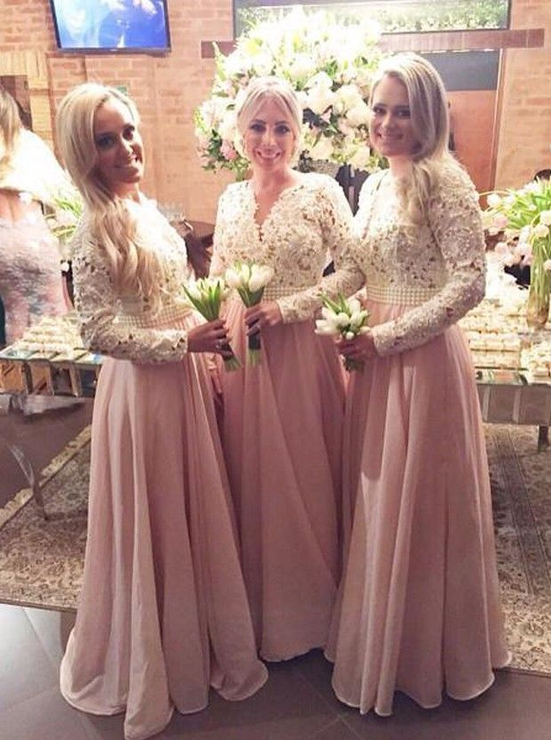 Buy Elegant Sheath V-Neck Floor Length Pink Bridesmaid Dress with Long  Sleeves Bridesmaid Dresses under  122.99 only in Main Website. 412499ee5282
