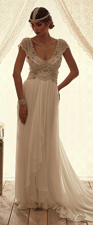 Silk sheath wedding dress  Wonderful Silklike Chiffon Scoop Neckline Sheath Wedding Dresses
