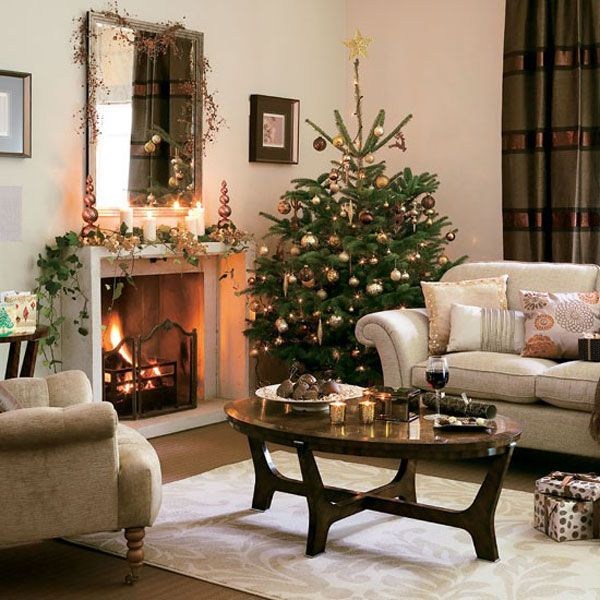 Wohnzimmer Weihnachtlich Dekorieren Gold Mittelpunkt Weihnacht