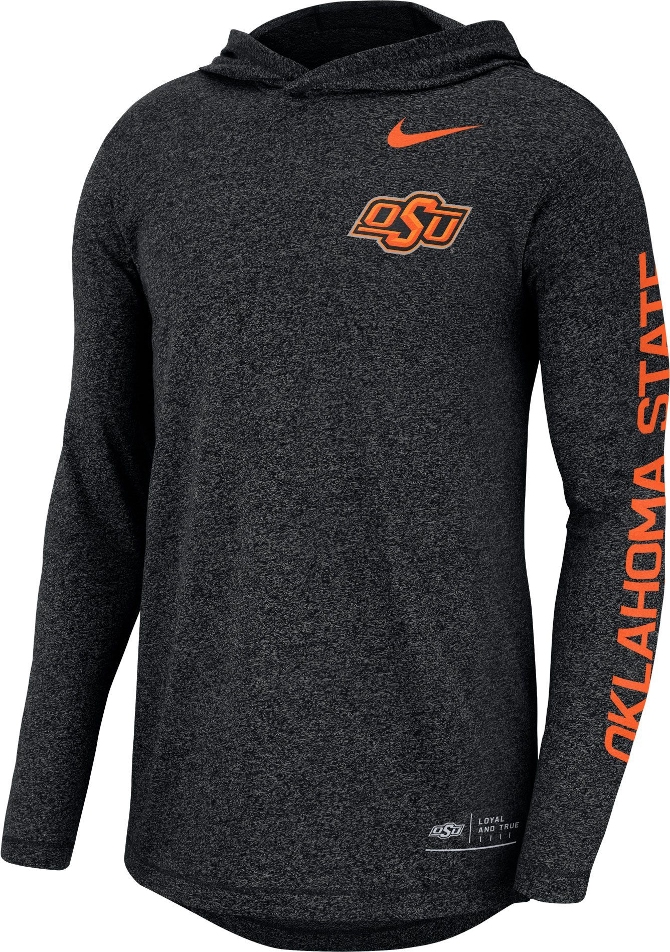 01c939f2722d Nike Men s Oklahoma State Marled Long Sleeve Hooded Sideline Black T-Shirt