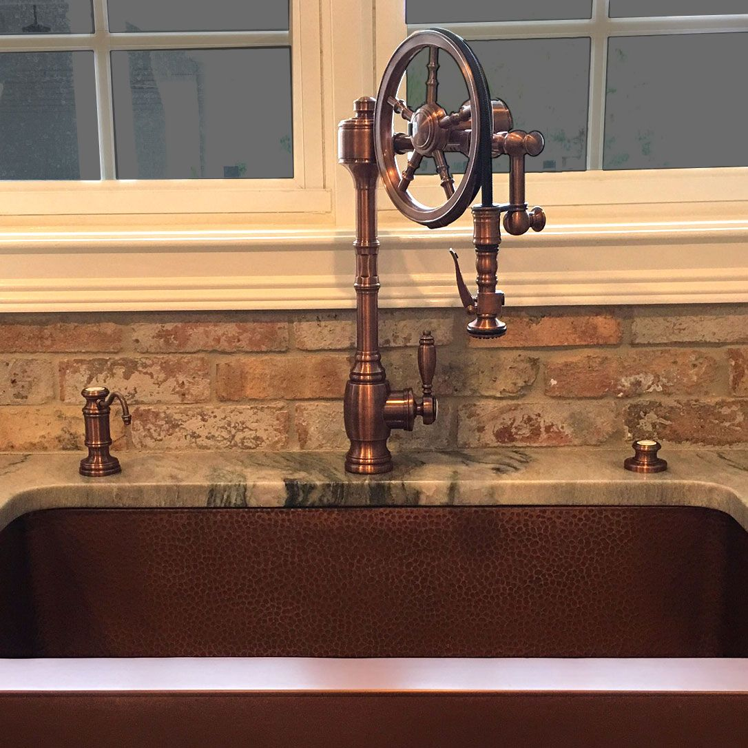 Waterstone Wheel Faucet In Antique Copper Goes Great With The Copper Sink Copper Kitchen Faucets Farmhouse