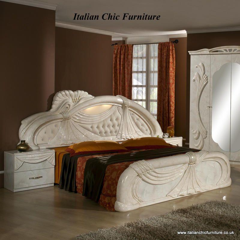 Italian Chic Furniture The Gina Bedroom Set With 4 Door Wardrobe