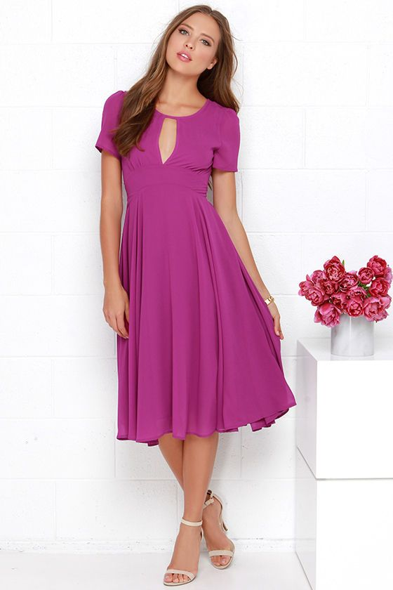 Take a twirl in the moonlight in the gorgeous Moonlit Dance Purple Midi Dress! A rich shade of purple woven poly fabric slopes into a rounded neckline above a sexy center cutout. Bodice has sheer short sleeves and a concave, set-in waist with sashes that tie at back above the full, billowy midi skirt. Fully lined. 100% Polyester. Hand Wash Cold.
