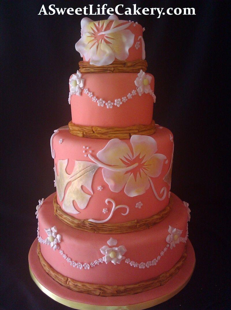 Tropical Hibiscus Cake Cake Fancy Cakes Hibiscus Cake