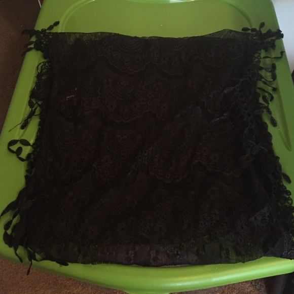 Lace hooded scarf Beautiful black lace looped scarf, never worn Accessories Scarves & Wraps