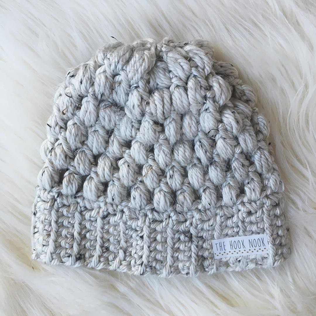 Chunky tweed fitted puff stitch beanie. by the.hook.nook   Crochet ...