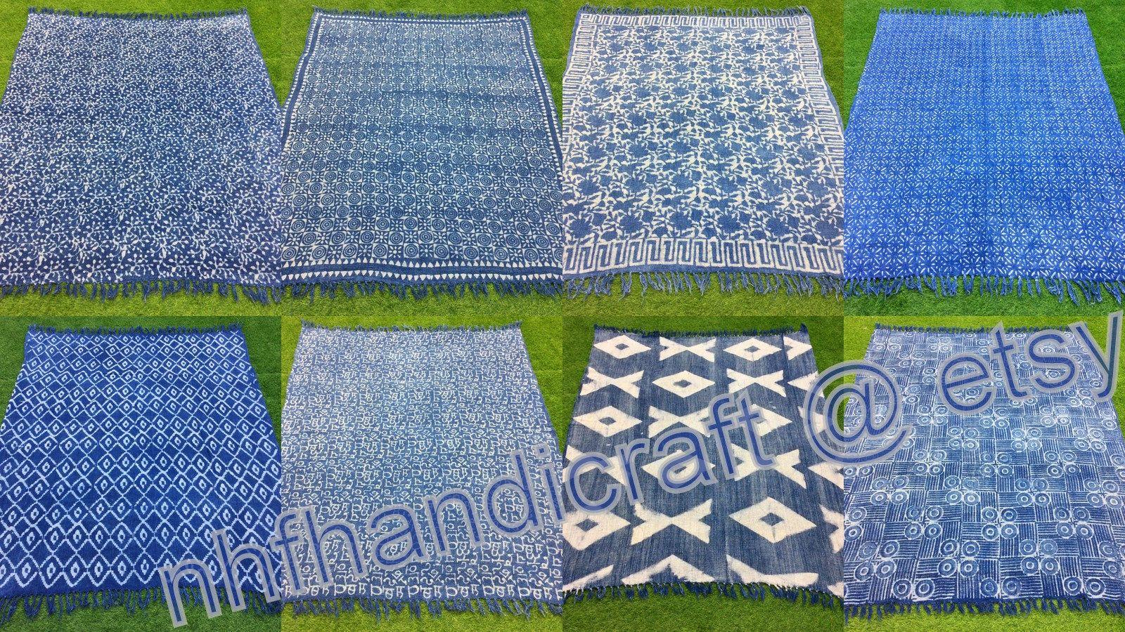 10pc Wholesale Lot 50x70 In Indigo Throw Blue Throw Handmade Etsy Indigo Throw Blue Throws Couch Throws