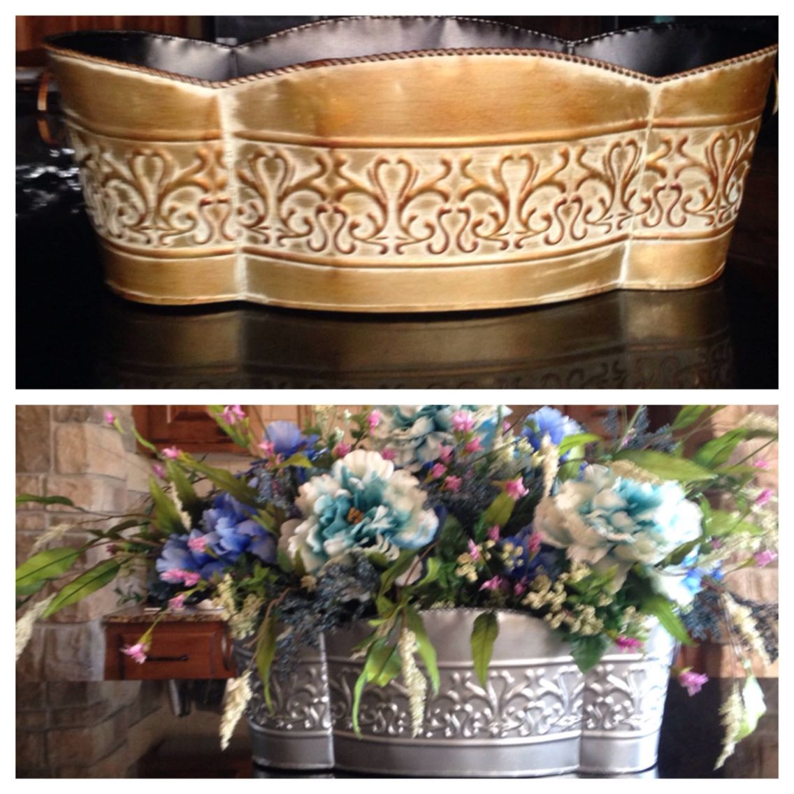 Thrift store tin tub turned into modern floral centerpiece