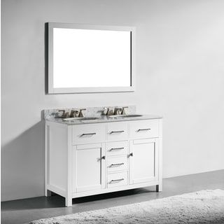 The Awesome Web Shop for inch White Finish Solid Wood Double Sink Bathroom Vanity with Soft Closing Drawers and Mirror Get free delivery at Overstock Your Online
