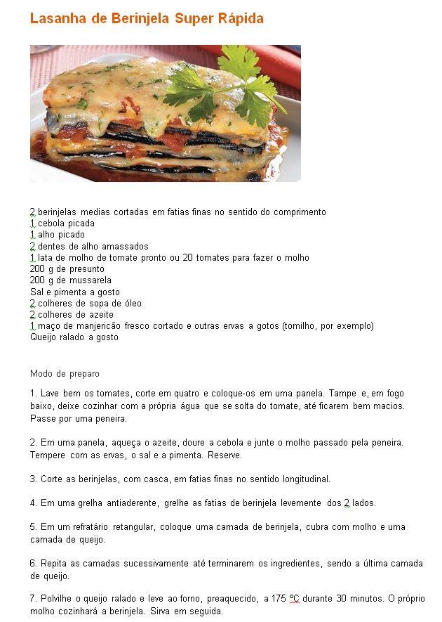 Receita de lasanha de beringela