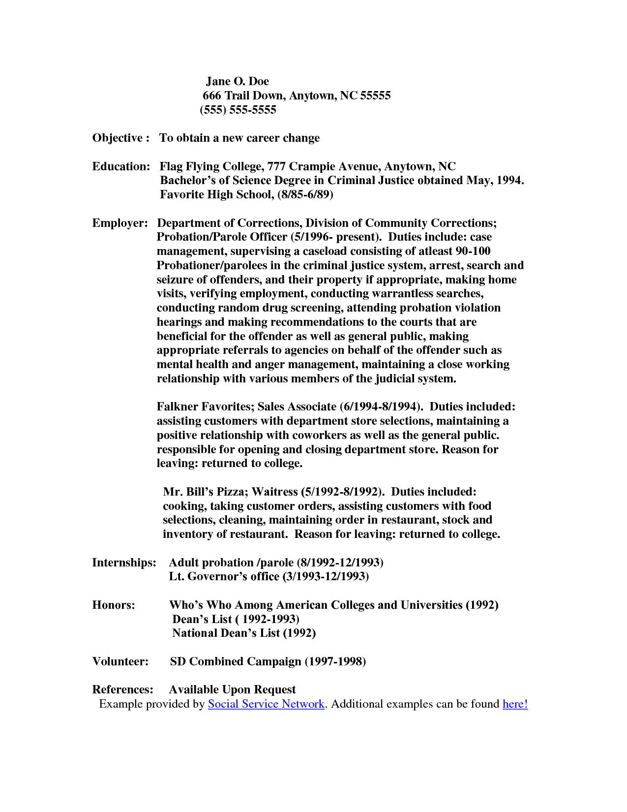 Resume For Juvenile Detention Officercareer Resume Template Career Resume Template