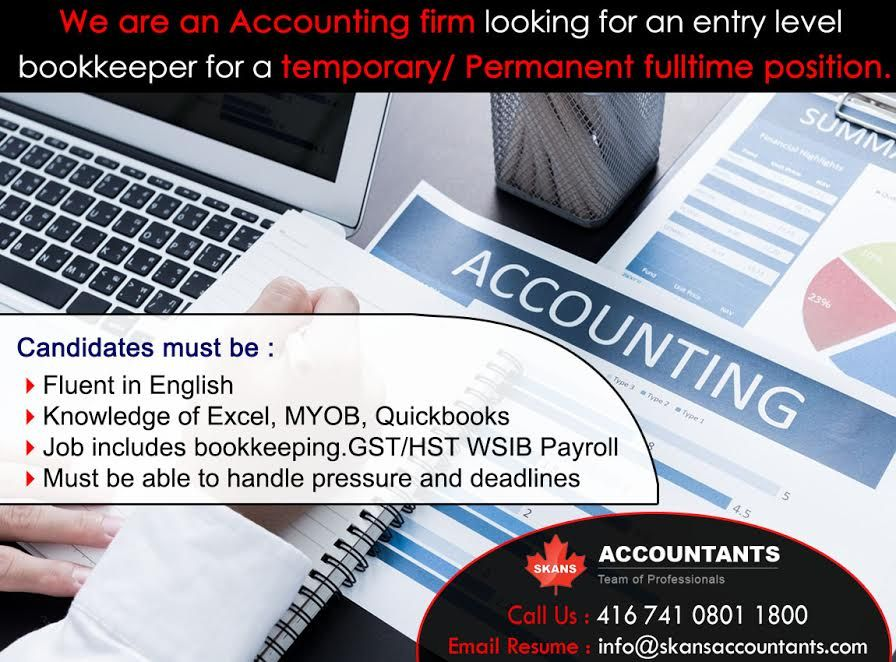 We Are An Accounting Firm Looking For Entry Level BookKeeper A Temporary Permanent