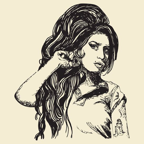 T Shirt Design Line Art : Icon amy winehouse continuous line drawing t shirt