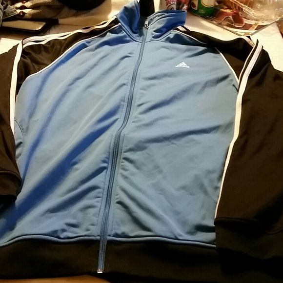 Adidas jacket Baby blue black sleeves with white stripes size xl Adidas Sweaters