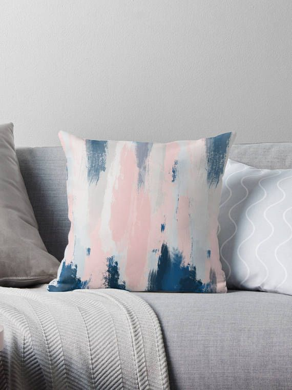 abstract throw pillow cover  blush pink and navy blue cushion cover  Jen Kellers House  Blue