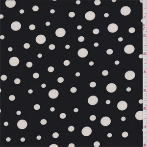 Black background with a white polka dot print. This lightweight, matte nylon knit fabric has widthwise and diagonal stretch and recovery.Compare to $13.00/yd