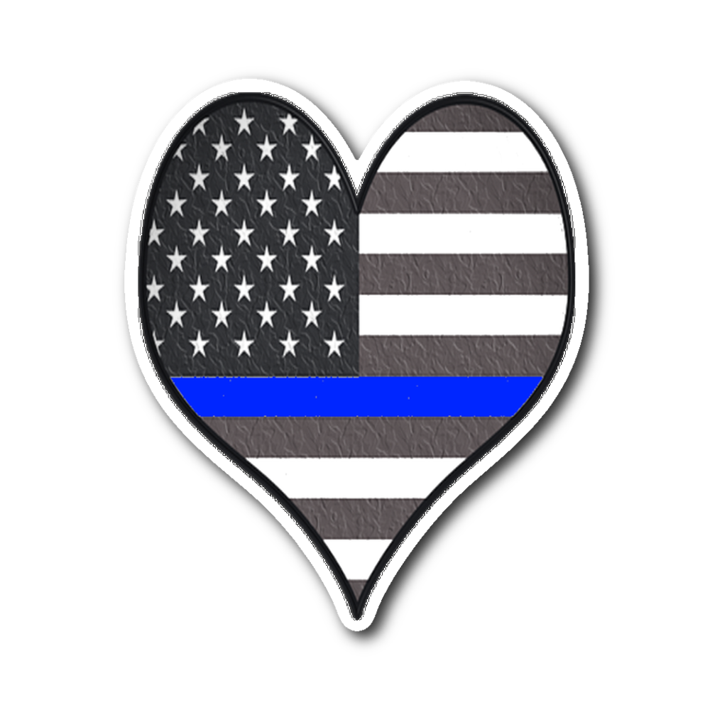 Support The Police Heart Flag Sticker Flag Police Supportive