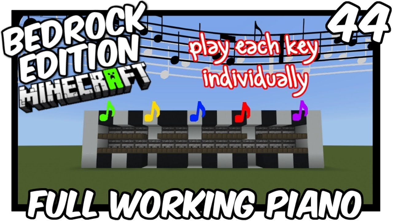 Full Working Piano Bedrock Edition Keyboard Tutorial Minecraft Tutorial Piano Tutorial