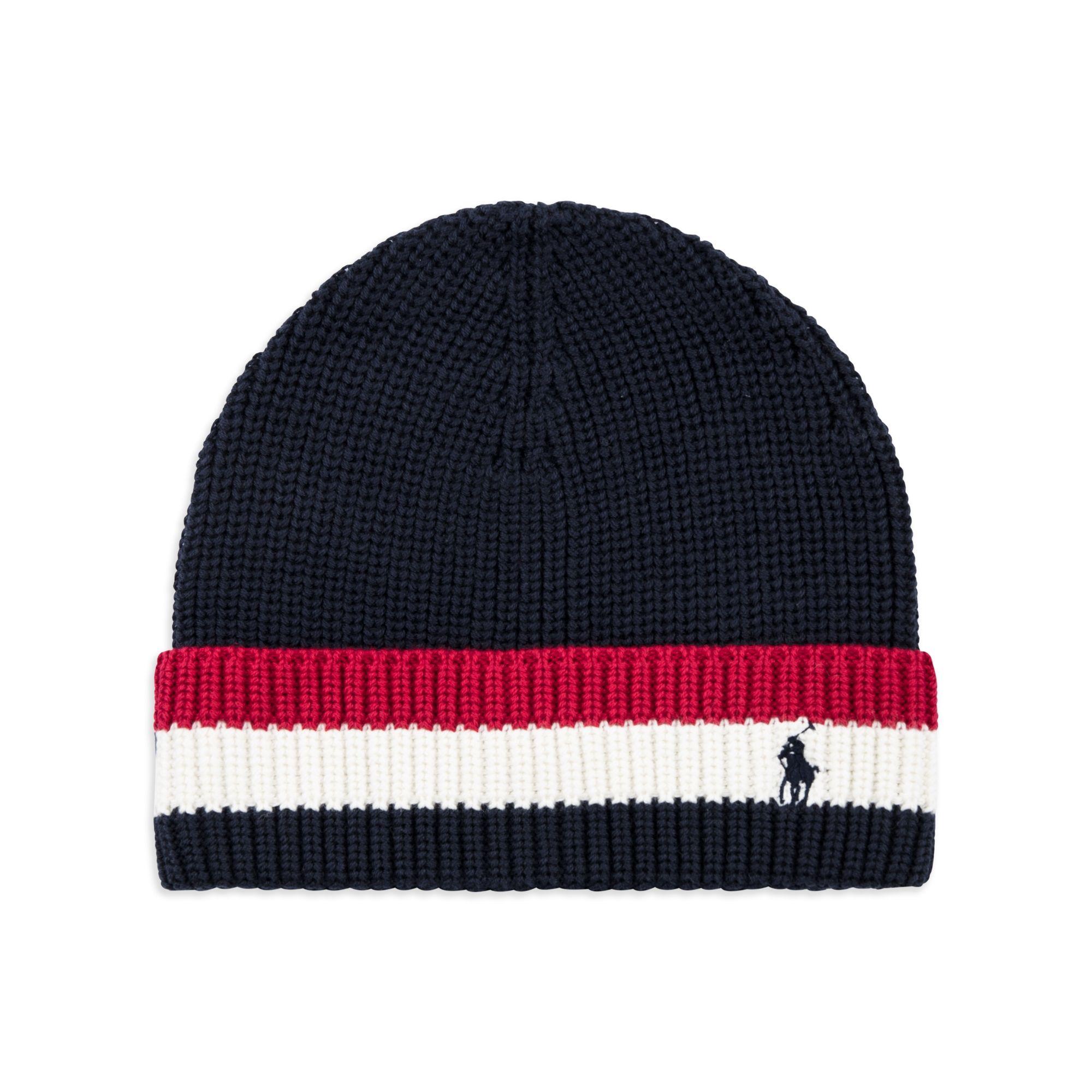 6522fe2e4f7 RALPH LAUREN Boys Striped Brim Cotton Hat - Navy Boys beanie hat • Soft  combed cotton • Turn up striped brim • Pony logo embroideryMaterial  100%  Cotton