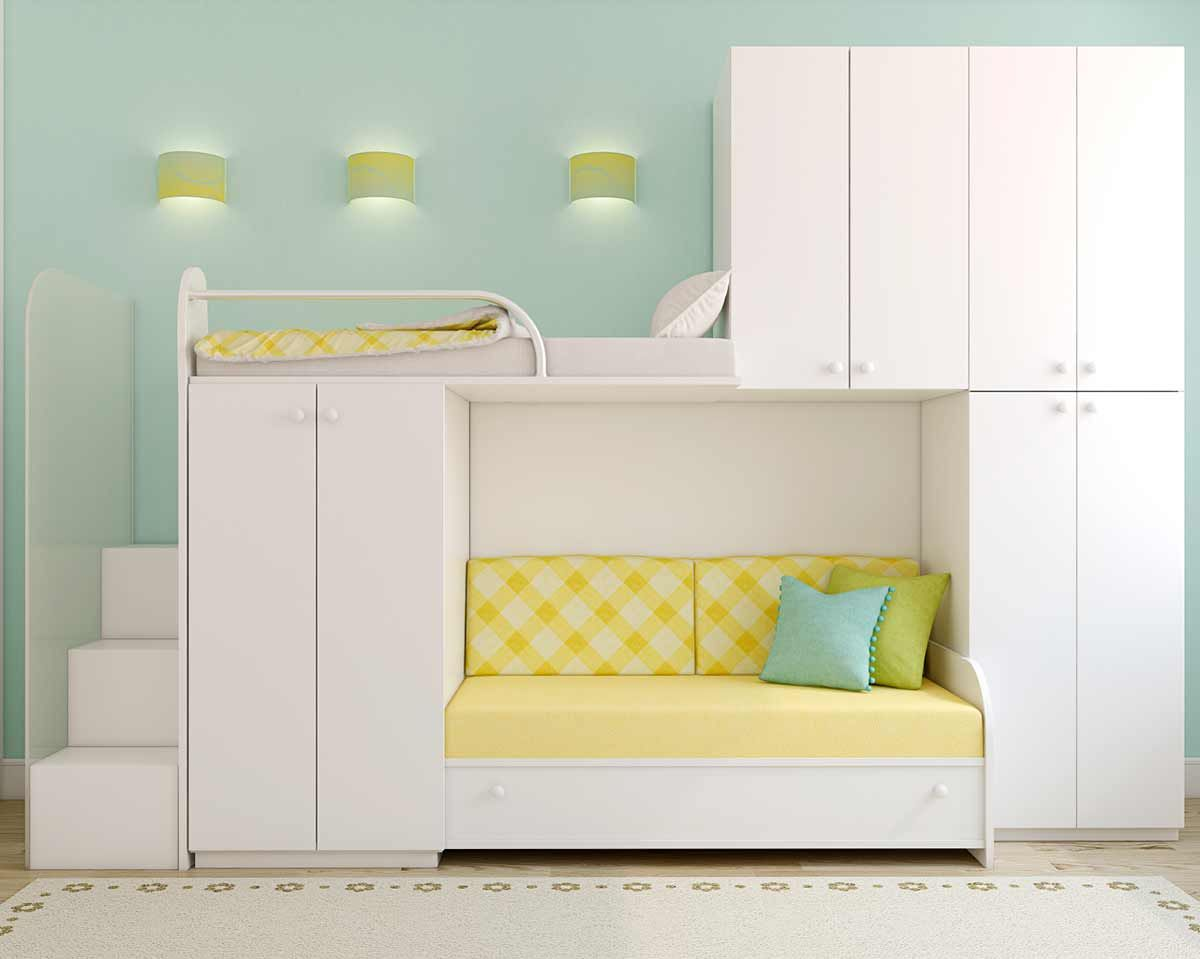 Pastel Green And White Childrenu0027s Bedroom With Large Shelving Unit With  Included Sofa
