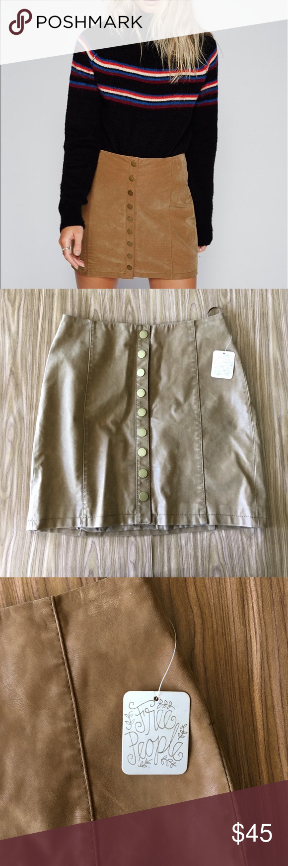 c9772d495 NWT Free People Oh Snap Vegan Leather Mini Skirt Brand new with tags free  People vegan faux leather mini skirt Free People Skirts