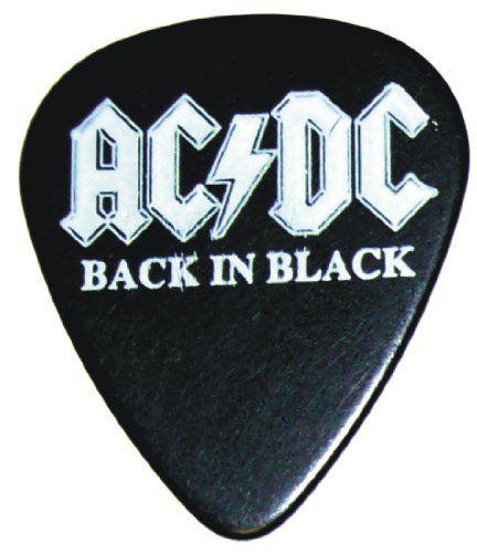 Ac Dc Back In Black Logo Guitar Pick 99 Volts 3 91 Guitar Picks Guitar Cool Guitar Picks