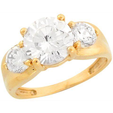 14k Yellow Gold Sparkling Three Round Stone CZ Fashionable Ladies Ring -