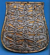Sabretache - this example a Magyar tarsoly of the 10th century. Sabretaches/tarsolys were suspended from the belt by the sabre and served as a man-purse, for the lack of pockets in military uniform.