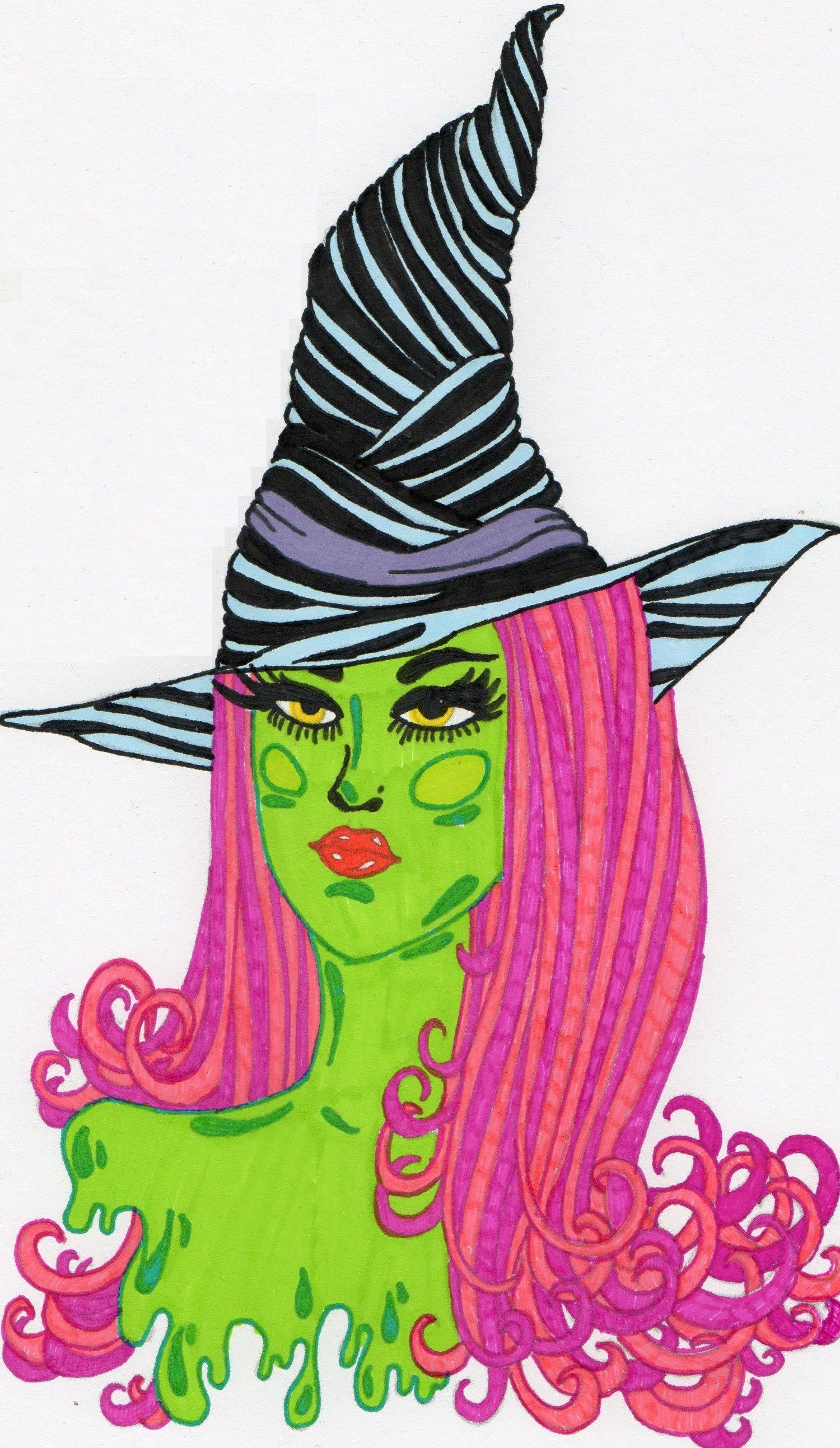 Witch zentangle coloring | Zentangle Coloring pages | Pinterest