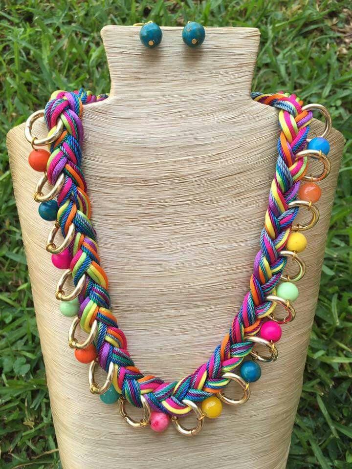 b837edc5444f Collar de cola de rata trenzado, piedras y cadena aluminio ...